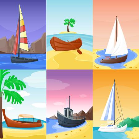 Summer time vacation nature tropical beach with sail boat ships, vessel, yacht landscape paradise island palm holidays vector illustration