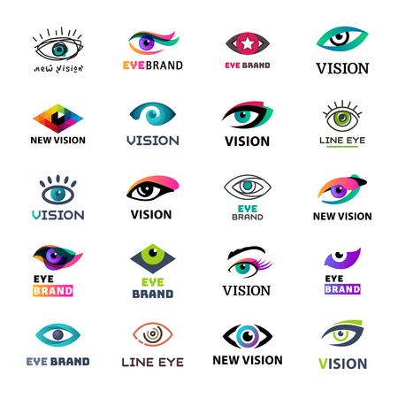 Eye blinker business icon glimmer template logo idea startup light company badge vector illustration