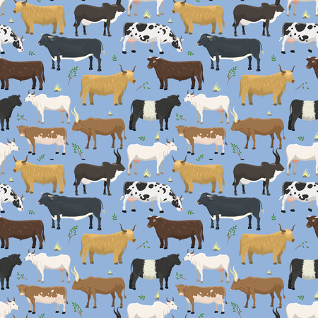 Set of bulls and cows farm animal cattle mammal nature beef domestic buffalo character vector seamless pattern background
