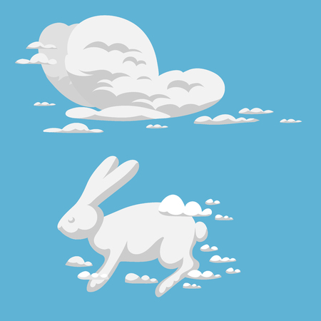 Animal clouds silhouette rabbit pattern vector illustration abstract sky cartoon environment bunny natural ornament