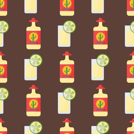 vermouth: Alcohol drinks seamless pattern beverages cocktail bottle drunk glasses vector illustration. Illustration