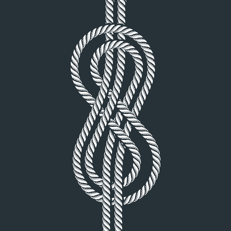 Sea boat rope eight knot vector illustration isolated marine navy cable natural tackle sign