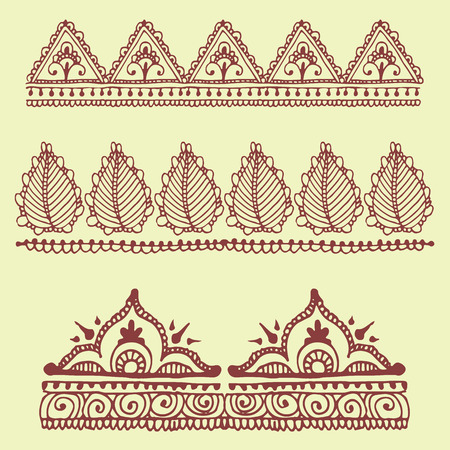 Henna tattoo brown mehndi flower doodle ornamental decorative indian design pattern paisley arabesque mhendi embellishment vector. Stock Photo