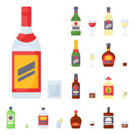 De alcohol drinkt van de de flessenkorst van de drankencocktail de gedronken verschillende glazen vectorillustratie. Stockfoto - 79923806
