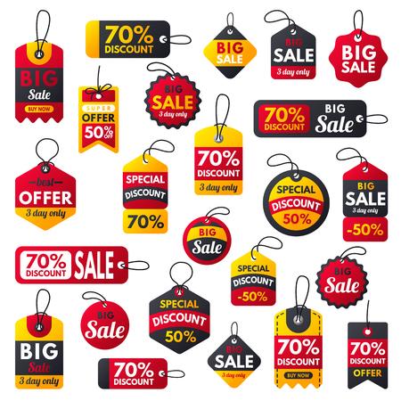 Super venta extra bono pancartas rojas texto etiqueta negocios compras Internet promoción descuento oferta vector ilustración Foto de archivo - 79923820