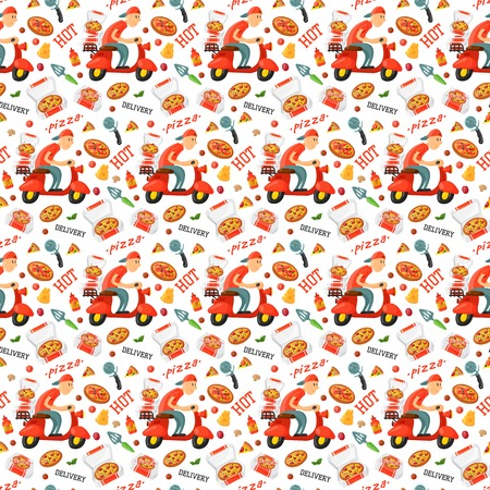 Italian cook pizza restaurant delivery boy pizzeria service website seamless pattern background