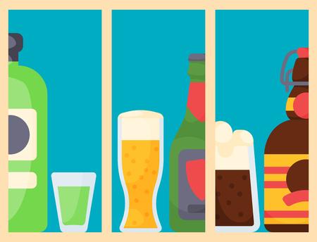 Alcohol drinks cards beverages cocktail bottle lager print drunk different glasses vector flayer layout, card design.