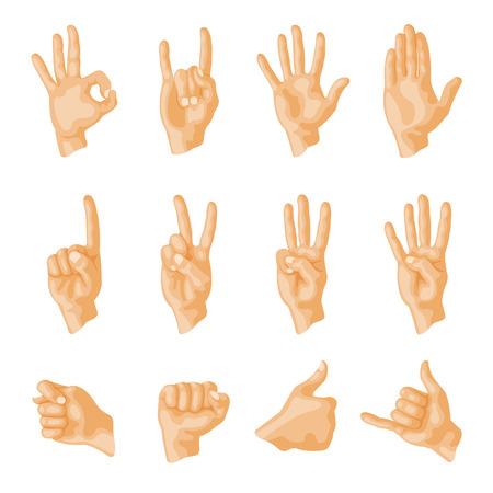 Handen doof-mute verschillende gebaren menselijke arm mensen communicatie bericht vector illustratie.