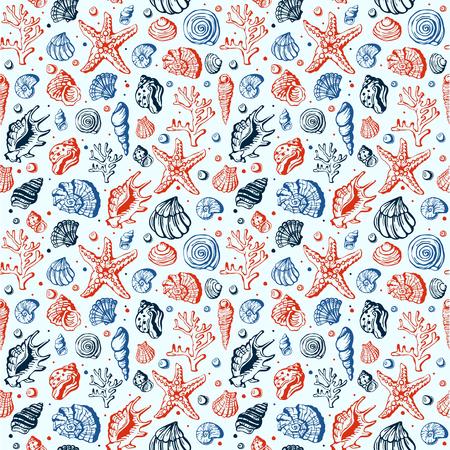 Sea life marine shells, corral and underwater stars hand drawn style vector seamless pattern background. Exotic marine aquarium beauty scallop nature seashell hand drawn sketch. Illustration