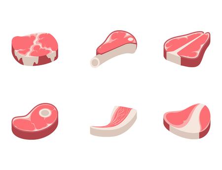 Beef steak raw meat food red fresh cut butcher uncooked chop barbecue bbq slice ingredient vector illustration. Slice pork cooking barbecue fillet sirloin beefsteak gourmet protein meal. Stock Vector - 79988665