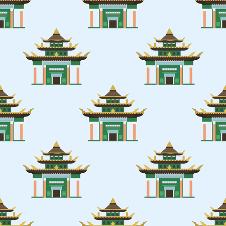 A Temple. traditional building seamless pattern famous landmark tourism vector illustration