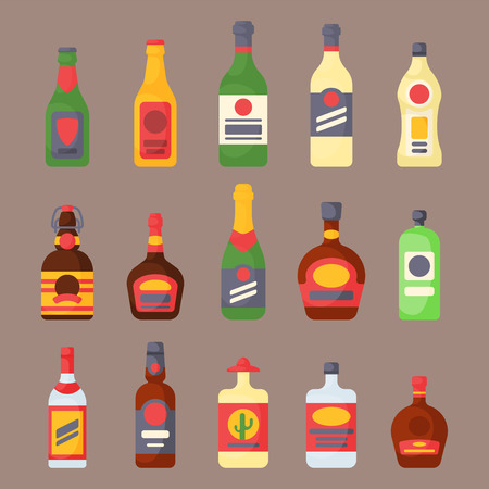 Alcohol drinks beverages cocktail bottle lager container drunk different glasses vector illustration. Stock Vector - 79996894