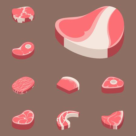 牛肉のステーキ生肉食切り赤たて肉屋の調理バーベキュー バーベキュー スライス成分ベクトル図をチョップします。豚肉料理バーベキュー肉サーロ