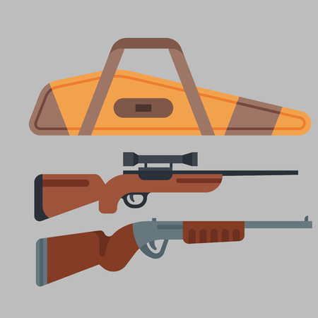 Two shotguns weapon vector illustration hunting gun danger target trigger vintage ammunition steel firearm shot. Bullet hobby hunting violence aim security tool.