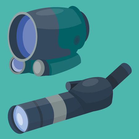 Professional binoculars glass look-see spyglass optics device camera digital focus optical equipment vector illustration
