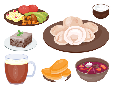 russian cuisine: Traditional Russian cuisine culture dish course food welcome to Russia gourmet national meal vector illustration