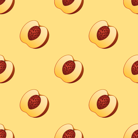 Peach fruit slice seamless pattern realistic 3d healthy vegetarian sweet ripe vector illustration. Juicy nectarine nature piece agriculture gourmet ingredient tasty vegan food.