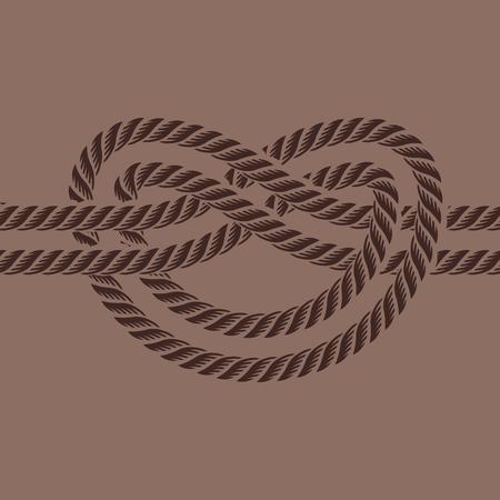 Zee boot touw knoop vectorillustratie geïsoleerde mariene marine kabel natuurlijke tackle teken