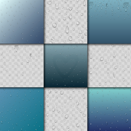 Seamless rain water drops and splash pattern background vector blue drip dots nature raindrop illustration
