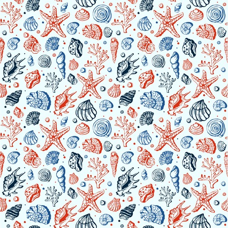 Sea life marine shells, coral and underwater stars hand drawn style vector seamless pattern background Stock Photo