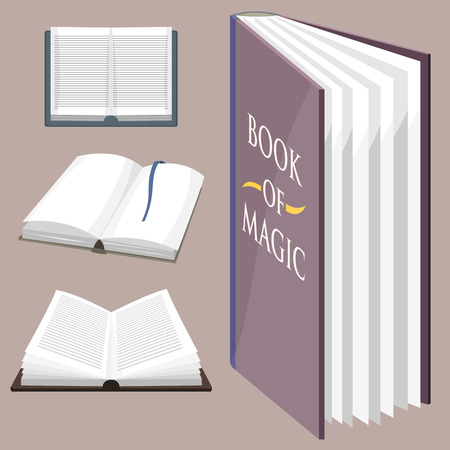 De kleurrijke boek vectorillustratie leert de literatuurstudie opende het documenthandboek van het gesloten onderwijskennis. Stock Illustratie