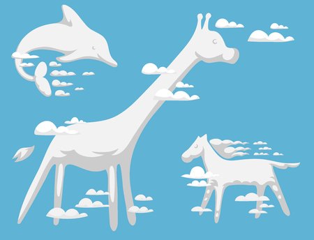 Animal clouds silhouette pattern vector illustration abstract sky cartoon environment natural wilding beast ornament Illustration