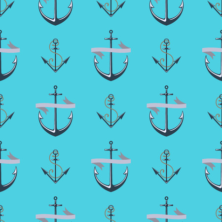 Vintage retro anchor badge vector seamless pattern sea ocean graphic nautical anchorage symbol illustration Çizim