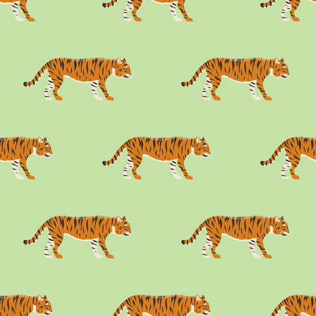 Tiger action wildlife animal danger mammal fur seamless pattern wild Bengal wildcat character vector illustration. Safari striped carnivore aggressive anger orange jungle feline.