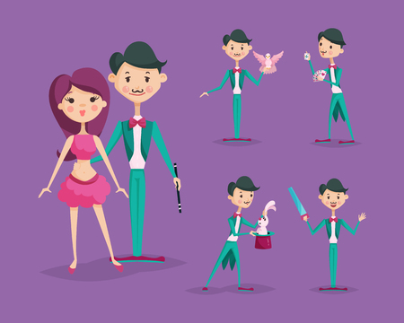 Cute magician character tricks vector illustration magic show cartoon man wizard circus Illustration