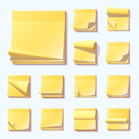 yellow notepad: Yellow office sticky memory notes vector illustration sticker paper adhesive information memo blank. Illustration
