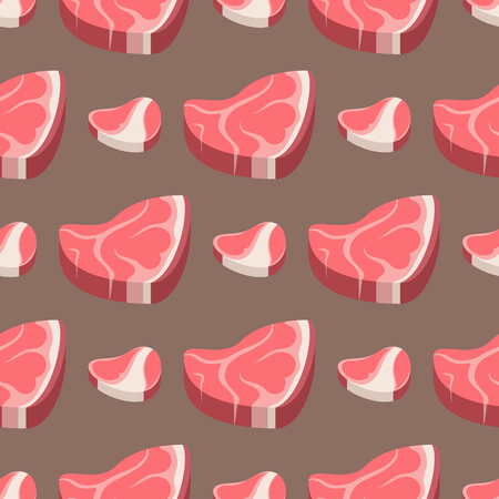 Beef steak raw meat food red fresh cut butcher uncooked chop seamless pattern ingredient vector illustration
