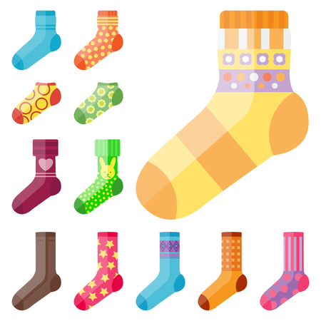 Flat design colorful socks set vector illustration selection of various cotton foot warm cloth Stock Photo