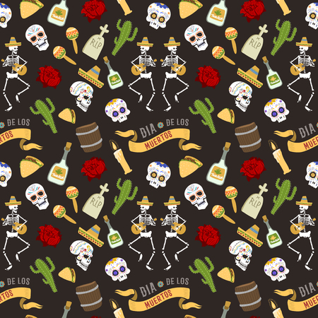 Colorful set of icons for dia de los muertos. Day of the dead and halloween. Skull catrina party culture vintage symbols. Traditional festival happy design seamless pattern background Illustration