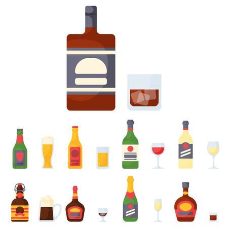 アルコールの飲み物飲料カクテル ウイスキー ボトル ラガー リフレッシュメント コンテナーとメニュー酔って概念異なるベクトル図です。レストラ