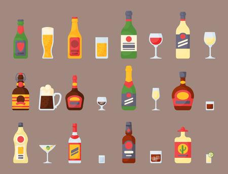 De alcohol drinkt van de de whiskyfles van de drankencocktail de container van de het lagerbierverspering en menu gedronken concept verschillende glazen vectorillustratie. Restaurant tequila rum feestcafé cognac.