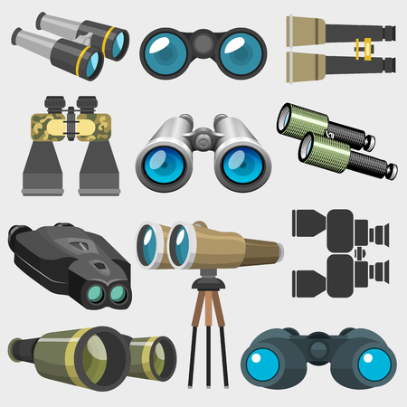 Different design binocular glasses look-see military, travel zoom search ocular equipment vector illustration. Navigation technology optical view watch equipment instrument Stok Fotoğraf - 80192321