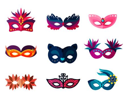 De authentieke met de hand gemaakte Venetiaanse geschilderde inzameling van het gezichtsmaskers van Carnaval voor partijdecoratie of maskerade realistische geïsoleerde vectorillustratie. Glitter het symbool van de het kostuumvakantie van de elegantie