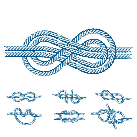 Navy blue rope with marine knots white pattern vector. Sea boat shipping natural tackle sign vessel. Yacht white navy cable sea boat knots lashing bend net string design. Stok Fotoğraf - 80192344