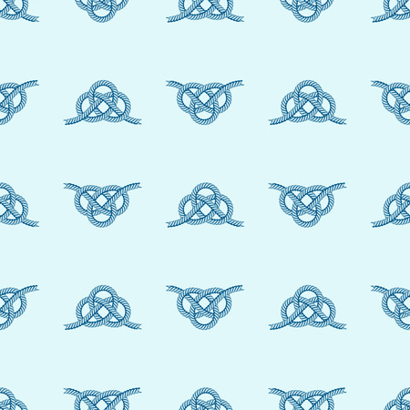 Navy blue rope with marine knots seamless pattern vector. Sea boat shipping natural tackle sign vessel. Yacht white navy cable sea boat knots lashing bend net string design. Иллюстрация