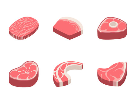 Beef steak raw meat food red fresh cut butcher uncooked chop barbecue bbq slice ingredient vector illustration. Slice pork cooking barbecue fillet sirloin beefsteak gourmet protein meal. Imagens - 80192804