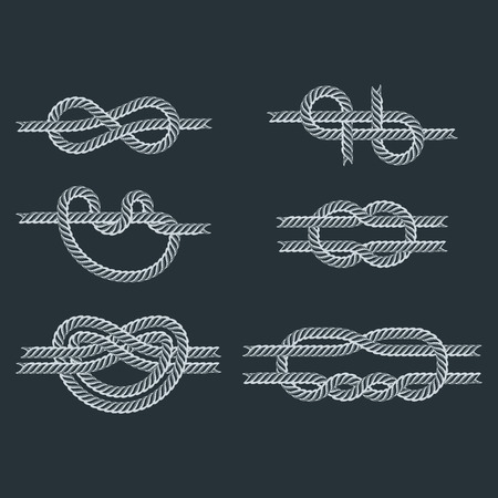 Navy blue rope with marine knots white pattern vector. Sea boat shipping natural tackle sign vessel. Yacht white navy cable sea boat knots lashing bend net string design. Stock Vector - 80192743