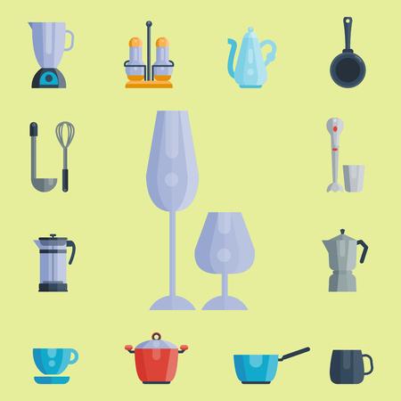Küchenutensilien Symbole Vektor-Illustration Haushalt Abendessen Kochen Lebensmittel Küchenutensilien. Sammlung Geschirr Geschirr Vorbereitung Besteck Ausrüstung. Standard-Bild - 80193939