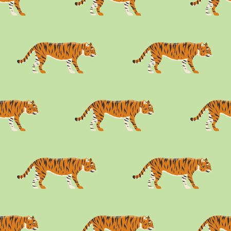 Tiger action wildlife animal danger mammal fur seamless pattern wild bengal wildcat character vector illustration. Safari striped carnivore aggressive anger orange jungle feline.