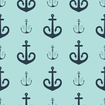Vintage retro anchor badge vector seamless pattern sea ocean graphic nautical anchorage symbol illustration Illustration