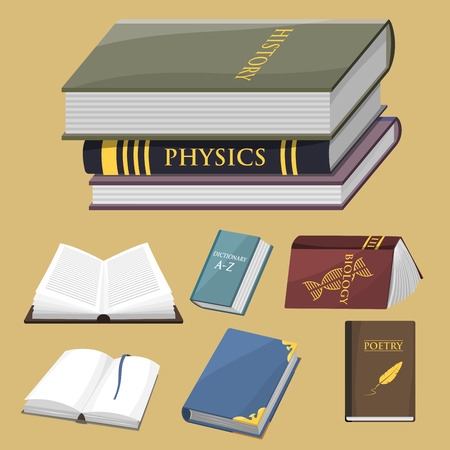 genesis: Colorful book vector illustration learn literature study opened closed education knowledge document textbook