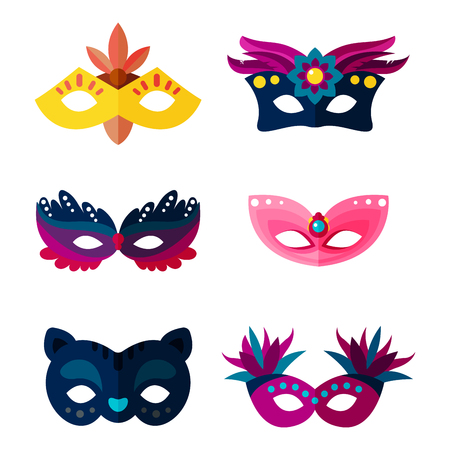costume ball: Authentic handmade venetian painted carnival face masks party decoration masquerade vector illustration