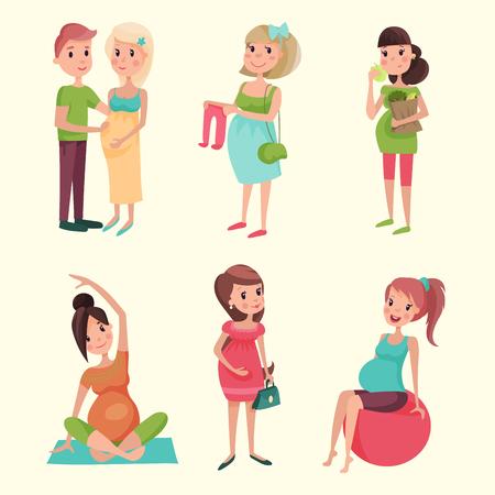 임신 모성 사람들 기대 개념 큰 배꼽 벡터 일러스트와 함께 행복 한 임신 여자 캐릭터 생활