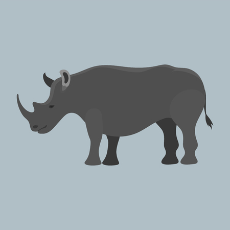 Wildlife rhinoceros mammal isolated rhino big wild africa animal endangered species horn zoo character vector illustration