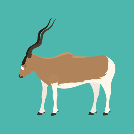 Antelope addax wildlife endangered species nature animal conservation goat mammal oryx character vector illustration