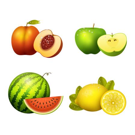 Ripe striped watermelon realistic juicy fruits slice apple vector illustration slice green isolated ripe melon.